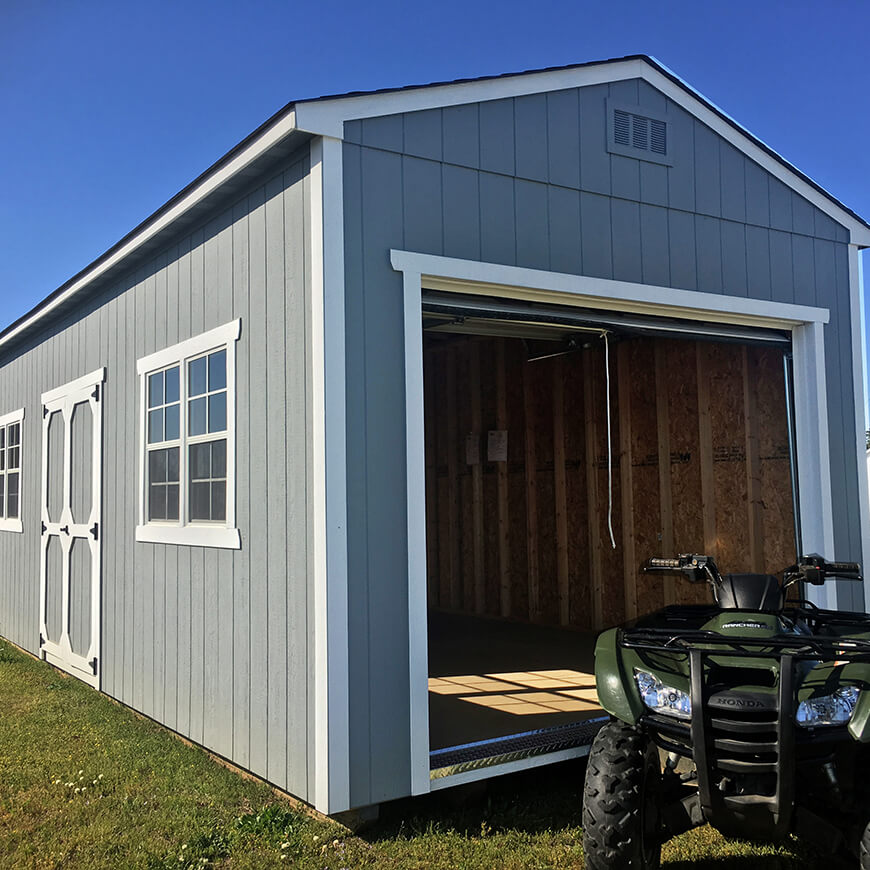 monster series shed with roll-up door