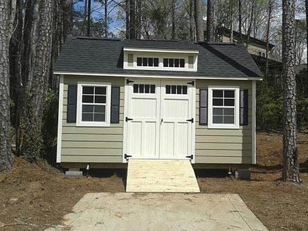 12x16 Craftsman Steep-Pitch With 4ft Roof Dormer and Window Shutters