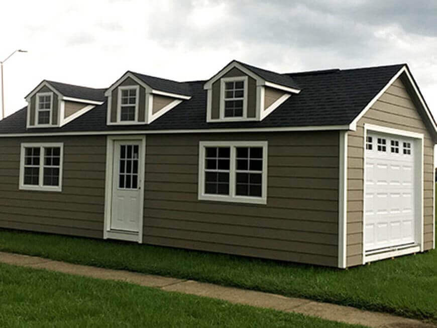 14x32 Craftsman Steep-Pitch Series With 3 Dollhouse Dormers and Transom Garage Door