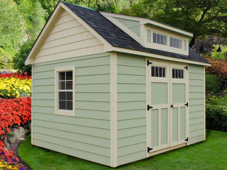 Craftsman Steep-Pitch Shed With Custom Paint and Cedar Shake Gables