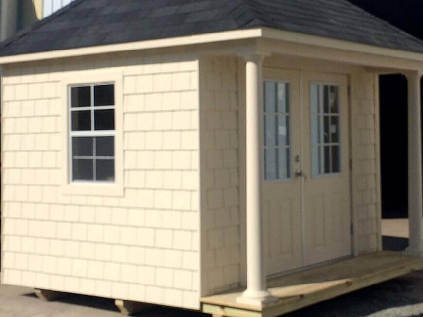 10x12 Executive Series Shed With Cedar Shake Siding and 2ft Front Porch