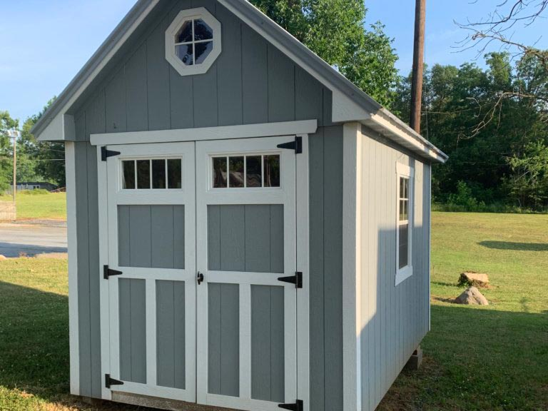 8X12 craftsman steep-pitch shed metal roof