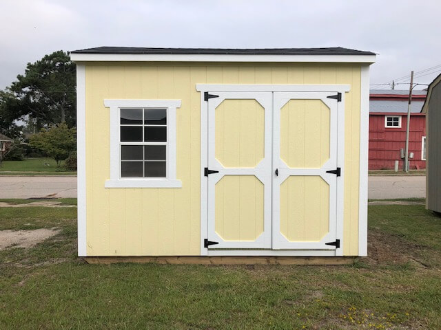monster series shed with double wood doors