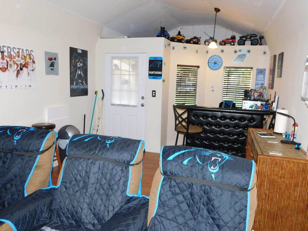 man cave shed interior
