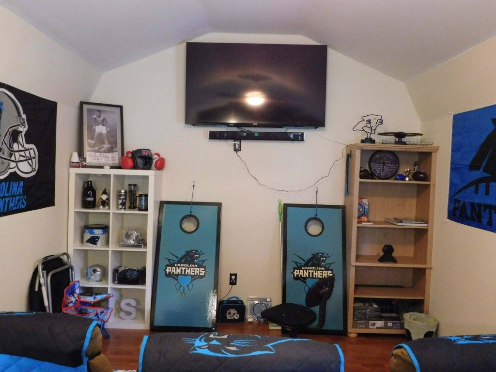 panthers man cave shed interior